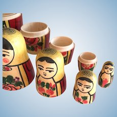 7 Piece Russian Nesting Matryoshka Dolls - Vintage Pink Rose - Original Label