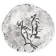 Hand Made Ceramic Deer Plaque Wall Hanging by Stan Langtwait