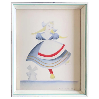 Midcentury Dutch Ice Skating Girl Print Signed Janice May