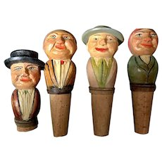 Set of 4 ANRI Carved Bottle Stoppers