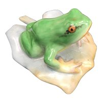 Herend Frog on Leaf Green Lifelike Colors 5355 Hand Painted Figurine