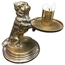 Victorian Style Brass Dog Match Holder and Striker