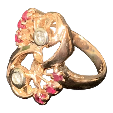 14K Retro Rose Gold Ring with Rubys and Diamonds, C1920 Size 6