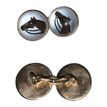 Horse Motif Cuff Links: 14K Yellow Gold and English Handmade Crystal Cuff Links by Vincent Simone, Designed for Ralph Lauren