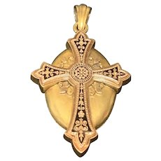 14K Yellow Gold Cross Mounted on Locket