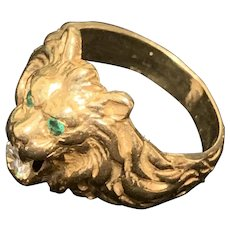14K Yellow Gold Ring Showing A Lion Head with Emerald Eyes and Diamond Mouth
