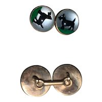 Dog Cuff Links by Vincent Simone (Ralph Lauren) 14k Yellow Gold & English Crystal Cuff Links