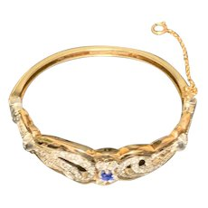 14k Yellow Gold Bracelet with Platinum, Diamonds, Sapphire