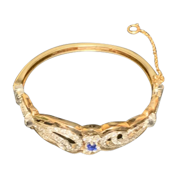 14k Yellow Gold Bracelet with Platinum, Diamonds, Sapphire