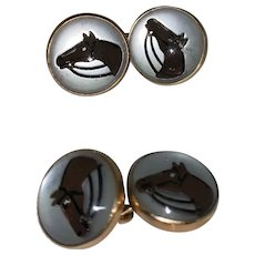 Horse Cuff Links by Vincent Simone (Ralph Lauren) 14k Yellow Gold & English Crystal Cuff Links