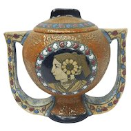 Art Nouveau Czechoslovakia Amphora Ceramic Handled Vase With Native American Motif