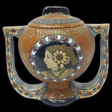 Art Nouveau Czechoslovakia Amphora Ceramic Handled Vase With Native American Motif
