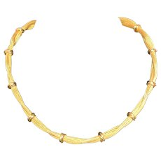 18K Yellow Gold Necklace Signed 18K Italy