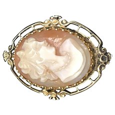 14K Gold Decorative Cameo Pin Back Brooch