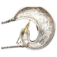 14K Gold and Silver Swan Necklace with Emerald Eye