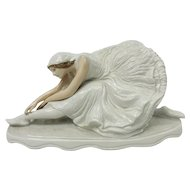 "Rare Signed German Rosenthal ""Dying Swan"" Ballerina Porcelain Figurine"