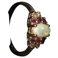 10K Ring with Diamond, Ruby, and Opal Stones
