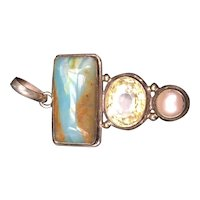 Sterling Silver Pendant with Citrine, Pearl, and Quartz Stones
