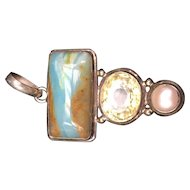 Sterling Silver Pendent with Citrine, Pearl, and Quartz Stones