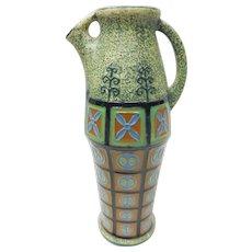 Art Nouveau Czechoslovakia Amphora Green Ceramic Vase Pitcher