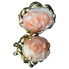 Pink Coral Earrings with 14K Gold