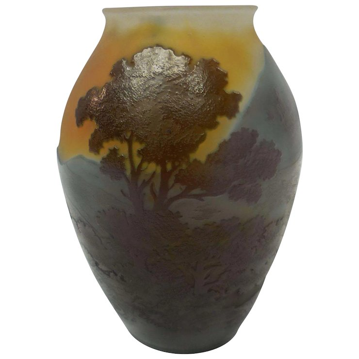 Signed Miniature Galle French Cameo Glass Vase With Scenic Landscape