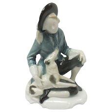 c. 1914 Signed Selb-Bavaria German Rosenthal Lad & Dog Porcelain Figurine by Karl Himmelstoss