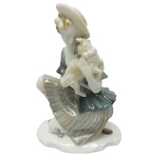 c. 1920 Signed Selb-Bavaria German Rosenthal Young Woman With Lamb In Her Arms Porcelain Figurine by Karl Himmelstoss