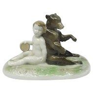c. 1914 Selb-Bavaria German Rosenthal Bear & Child Porcelain Figurine by Ferdinand Liebermann