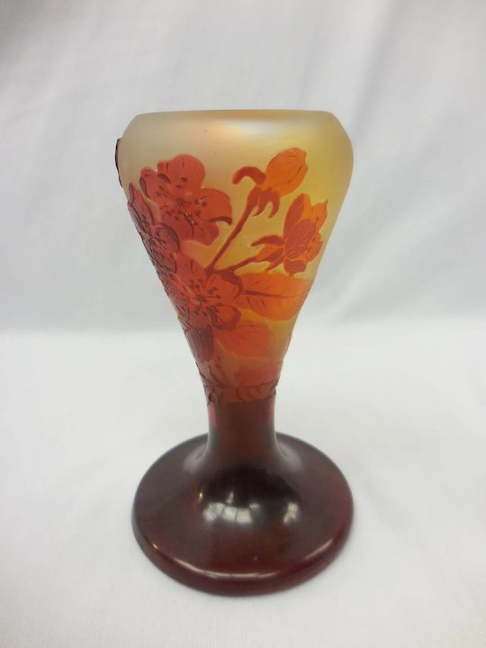 Signed Galle Frosted French Cameo Glass Vase With Red Floral Motif