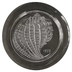Signed 1972 French Lalique Glass Conch Shell Calendar Plate