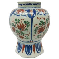 18th C. Dutch Delft Ceramic Octagonal Rim Vase by Pieter Gerritsz