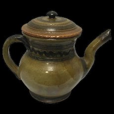Isaac Stahl Signed 1940 Decorative Redware Pottery Coffee Pot