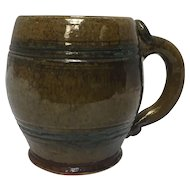 Stahl Signed 1942 Decorative Redware Pottery Folk Art Mug