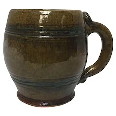 Stahl Signed 1942 Decorative Redware Pottery Folk Art Mug