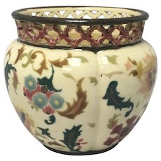 Zsolnay Pottery Vase Jardinière with Reticulated Rim