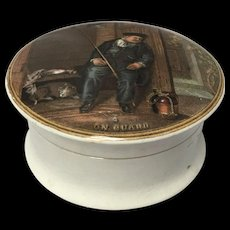 """Pratt Ware Rare Complete Pot Lid With Base No. 340 """"On Guard"""""""