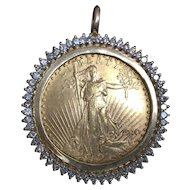 1910 $20 Gold US Coin Diamond Studded Pendant
