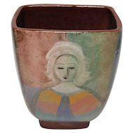 Polia Pillin Vase with Woman and Horses, Signed