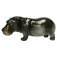 Porcelain Hippo Sculpture by Royal Dux