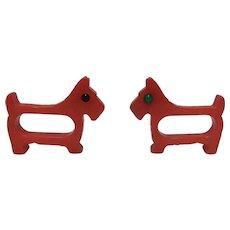 Red Bakelite Dog Napkin Rings