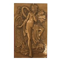 Bronze Plaque with Leda of Myth by artist R. Pelletier