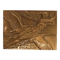 Bronze Plaque with Mythological Nude Woman by artist Raymond Delamarre