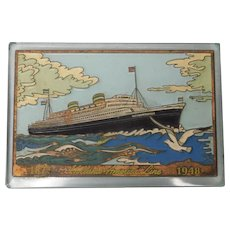 Nautical Holland America Line Glass Paperweight