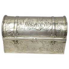 Sterling Silver (800) Dutch/German Casket Style Covered Box