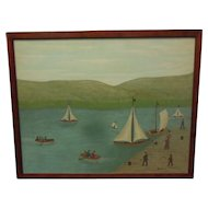 "Oil on Canvas ""Water Sports"" 16 x 20 in. Painting and Frame by Erwin Neusch"