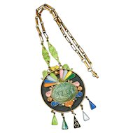 Unique Colorful Statement Pendant Necklace in Copper, Brass, and Enamel