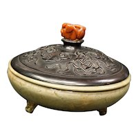 Ming Dynasty Chinese Footed Bowl with Teak Lid