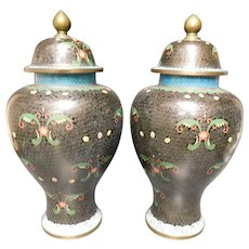 19 Century Chinese Cloisonne Covered Urns/Ginger Jars