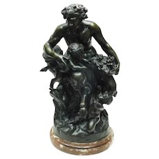 Pair of Clodion Bronze Satyr Scuptures with Marble Bases